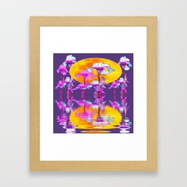 PURPLE-WHITE IRIS & MOON WATER GARDEN  REFLECTION Framed Art Print