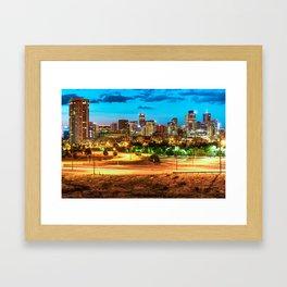 Denver Skyline Early Morning Hues Framed Art Print