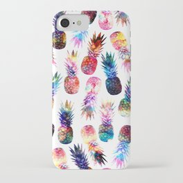 watercolor and nebula pineapples illustration pattern iPhone Case