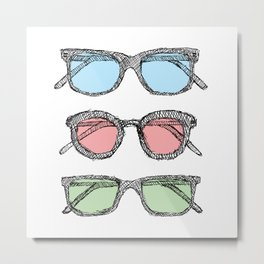 Three Glasses Sketch Metal Print