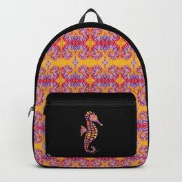 Festival Sunset Seahorse on Black Backpack