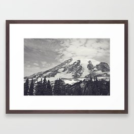 Mount Rainier B&W Framed Art Print