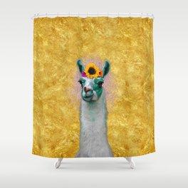 Flower Power Llama Shower Curtain