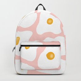 Funny trendy hand drawn fried eggs pattern pink pastel Backpack