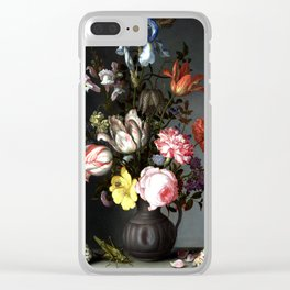 Flowers In A Vase With Shells And Insects Clear iPhone Case