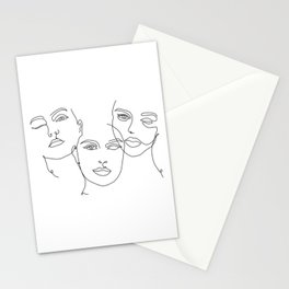 Abstract Faces in One Simple Line Stationery Cards