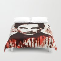 dexter Duvet Covers featuring Dexter by Alycia Plank