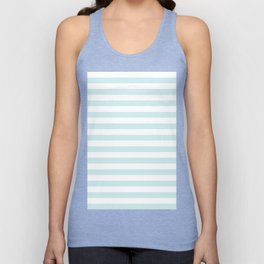 Narrow Horizontal Stripes - White and Light Cyan Unisex Tank Top