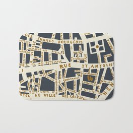 PARIS MAP GREY GOLD Bath Mat