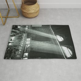Grand Central Station, Rays of Sunlight spilling in terminal, New York City black and white photograph Rug