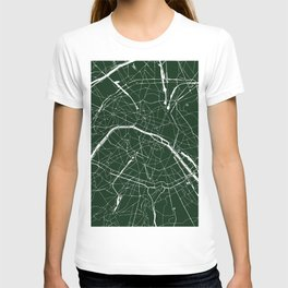 Paris France Minimal Street Map - Forest Green T-shirt