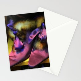 Purple Vintage Shoes with Fur | Fashion Stationery Cards