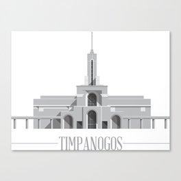 Mt Timpanogos Utah Temple on White Canvas Print