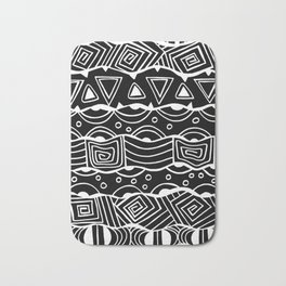 Wavy Tribal Lines with Shapes - White on Black - Doodle Drawing Bath Mat