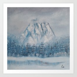 Snowy Mountain, Gorgeous Modern Oil Painting on Canvas, Winter Landscape by Lu Art Print