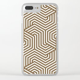 Raw umber - brown - Minimal Vector Seamless Pattern Clear iPhone Case