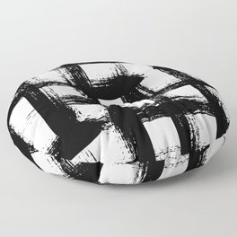 Plaid pattern with bold black crossing lines and stripes Floor Pillow