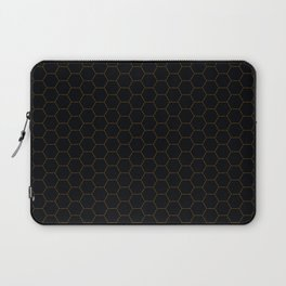 Black with fine line gold hexagon pattern Laptop Sleeve