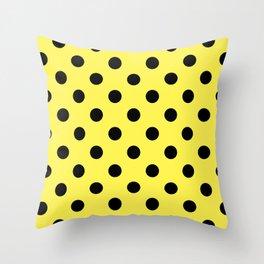 Extra Large Black on Lemon Yellow Polka Dots | Throw Pillow