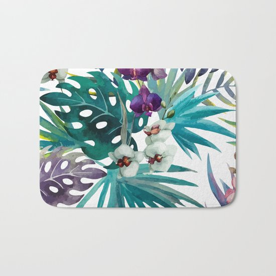 Tropical Floral Pattern 04 Bath Mat
