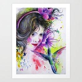 Hummingbird and Little Girl Art Print