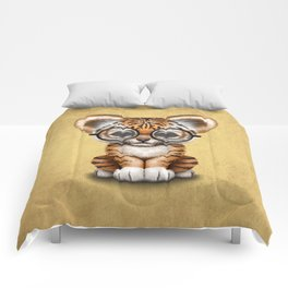 Cute Baby Tiger Cub Wearing Eye Glasses on Yellow Comforters