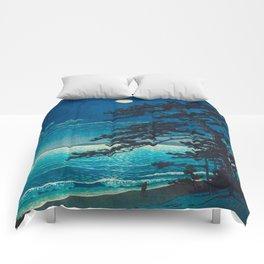 Vintage Japanese Woodblock Print Moonlight Over Ocean Japanese Landscape Tall Tree Silhouette Comforters
