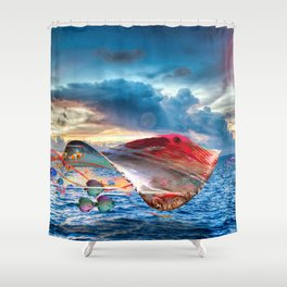 Electric Fying Stinray Shower Curtain