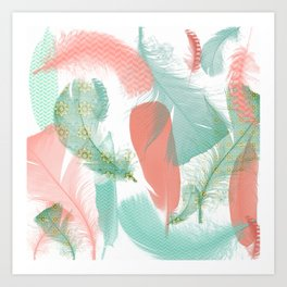 Peach and Turquoise Feathers Art Print