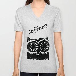 Coffee? Morning owl mint green print Unisex V-Neck