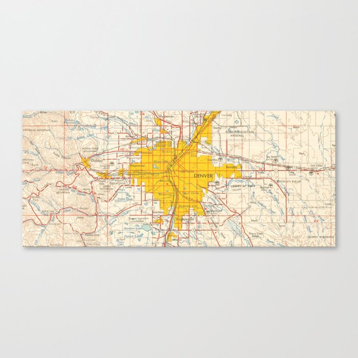 Denver map year 1958, old map, us maps, usa maps, vintage maps ... on