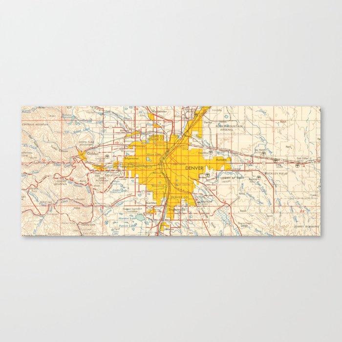 Denver map year 1958, old map, us maps, usa maps, vintage maps Leinwanddruck