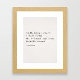 An invincible summer by Camus, white Framed Art Print