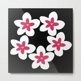 Pink Plumeria Lei (Black) Metal Print