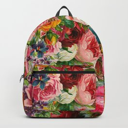 Colorful Floral Pattern | Je t'aime encore Backpack