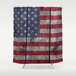 USA flag - on grainy wood Shower Curtain