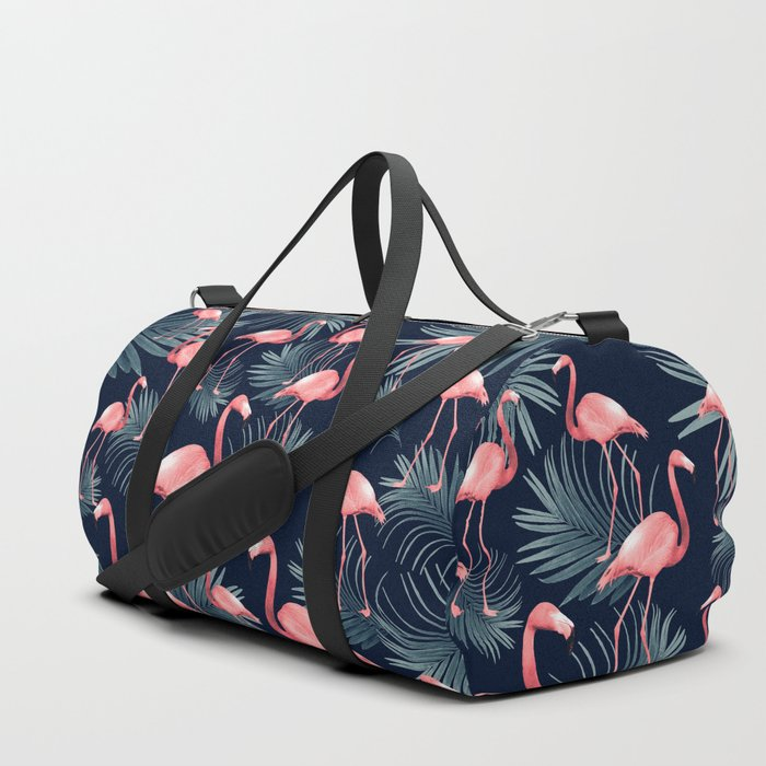 Summer Flamingo Palm Night Vibes #1 #tropical #decor #art #society6 Duffle Bag