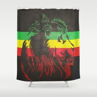 rasta Shower Curtains featuring Rasta Lion by Jill Pace