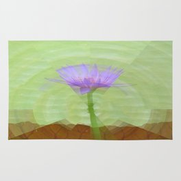 Single water lily on long stem Rug