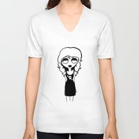 belle V-neck T-shirts featuring Belle by Laura Meg