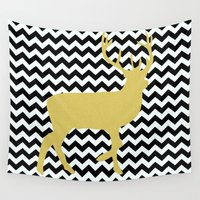 decal Wall Tapestries featuring Golden Deer in black and white chevron by haroulita