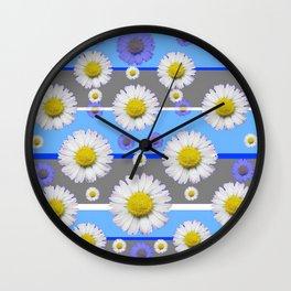 DECORATIVE BLUE MODERN ART WHITE SHASTA DAISIES Wall Clock
