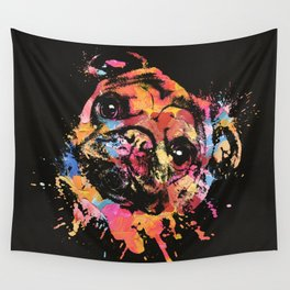 Pastel Paint Pug dog Wall Tapestry