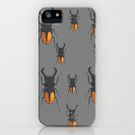 NATURE LOVERS STAG HORNED BEETLES BUG GREY ART M iPhone Case