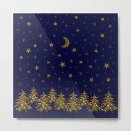 Sparkly Christmas tree, moon, stars Metal Print