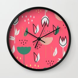 Flowers and raindrops Wall Clock