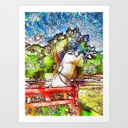 Horse statue at Bailiwick Animal Park Art Print