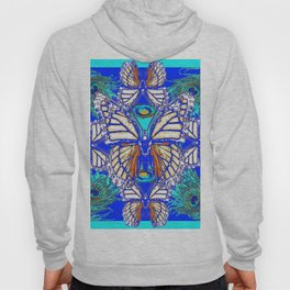 TURQUOISE & CREAM COLORED BUTTERFLIES  BLUE PEACOCK ART Hoody