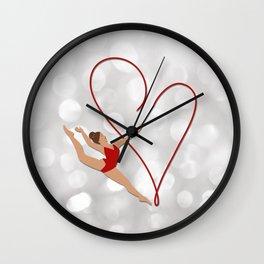 Red Heart Gymnast Wall Clock