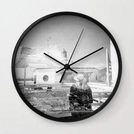 """The Lady of Malibu"" Black and White Holga photo Wall Clock"